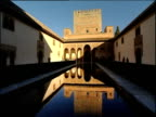 Alhambra Palace courtyard buildings reflected in ornamental pond Granada