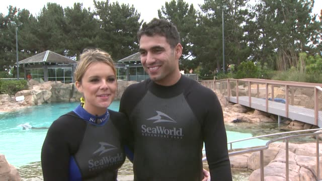 Ali Fedotowsky and Roberto Martinez on being at SeaWorld and how surprised she was at the Ali Fedotowsky celebrates her 26th Birthday at SeaWorld at...