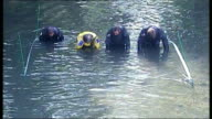 Police seek murder conviction details of suspect ENGLAND London EXT High angle views of police officers searching River Brent for clues Police diver...
