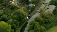 Body found in River Brent AIR VIEW / AERIAL Police forensics tent erected on the bank of the River Brent where the body of Alice Gross was found