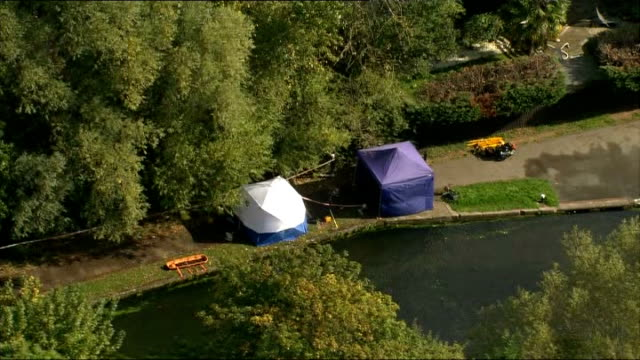 Body found in River Brent Air Views of scene AIR VIEWs Police tents at scene