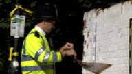 Body found in River Brent ENGLAND London EXT Canal boat in water Reflections in rippling water 'Great Britain' canal boat Police officers along on...