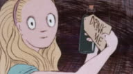 1974 CARTOON Alice walking to a table, drinking a potion and shrinking, eating a cookie and becoming regular size again / United Kingdom