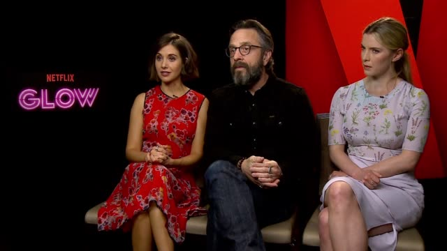 INTERVIEW Alison Brie Marc Maron and Betty Gilpin at the Netflix 'Glow' Junket on June 21 2017 in New York City