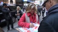 Alison Sweeney arrives at NBC Studios in Rockefeller Center and signs for fans in New York NY on 5/14/13