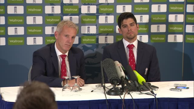 Alistair Cook and Peter Moores press conference ENGLAND London Gatwick North Terminal Sofitel INT Alistair Cook and Peter Moores press conference SOT