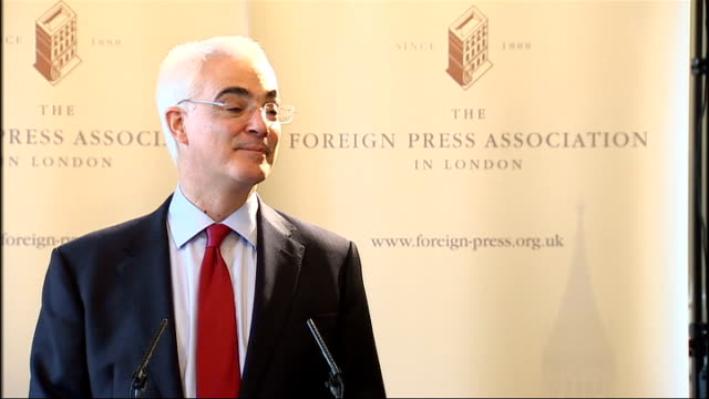 Alistair Darling addresses the Foreign Press Association Darling answers question about what the government will do to clamp down on tax havens SOT