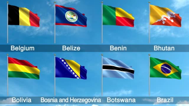 Alle Flaggen der Welt gesetzt (Endlos wiederholbar)