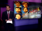 EU alleged corruption crisis ITN London GIR i/c in front of GRAPHIC on large screen behind with STILLS of EU ministers who are being investigated...