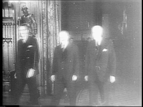 Allied diplomats meeting in Moscow to pledge unity against Nazi Germany October 1930 / diplomats milling about the garden outside the conference...