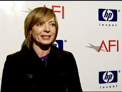 Allison Janney on how she feels about AFI honoring team efforts at the 2007 AFI Awards Honors Creative Teams at Four Seasons Hotel in Los Angeles...