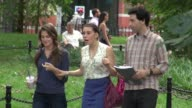 Allison Williams Zosia Mamet and Adam Driver on location for 'Girls' in New York 07/31/12