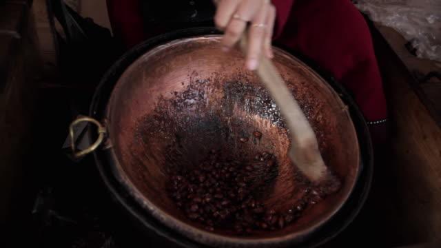 CU Almonds roasting in cauldron / Tallinn, Estonia