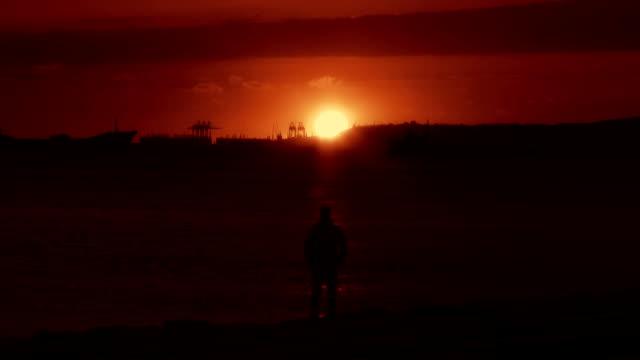 Alone Man at Sunset
