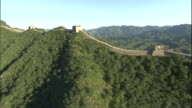 AERIAL along Great Wall with mountains in background/ China