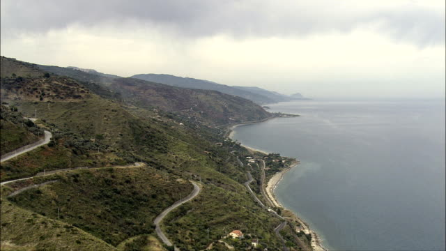Along the Coast To Castle Di Tusa  - Aerial View - Sicily, Italy