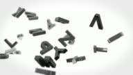 Alphabet Letters Background Loop - Black & White (Full HD)