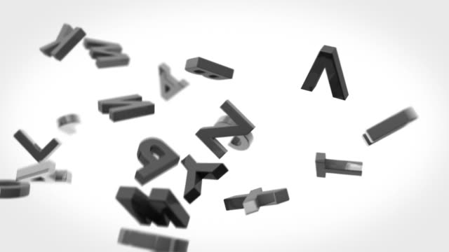 Alphabet Letters Background Loop - Black & White (Full HD)