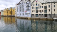 Alseund, the canal to the inner harbor, and art nouveau buildings