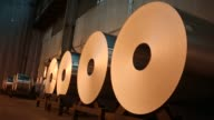 Aluminum is manufactured at Arconic in Alcoa Tennessee US on Tuesday Jan 24 2017 Shots shot of four aluminum rolls sitting side by side / CU of...