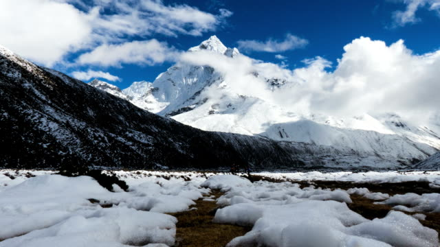 Ama Dablam Time Lapse from River Bed