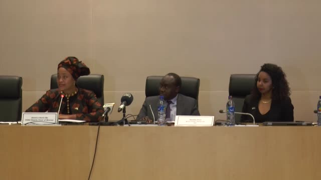 Amadou Diaw special advisor to the African Union Commission Chairman Moussa Faki and Jessica Davis Deputy Chief of Mission to the US Mission to the...