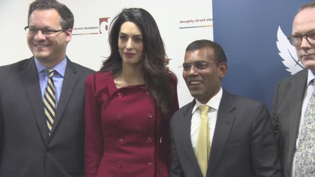 Amal Clooney Mohamed Nasheed at Press Conference with President Nasheed of the Maldives his Lawyers Jared Genser Amal Clooney and Ben Emmerson on...