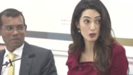 INTERVIEW Amal Clooney on the The Maldives government reactions on sanctions at Press Conference with President Nasheed of the Maldives his Lawyers...