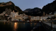 Amalfi coast town pre dawn