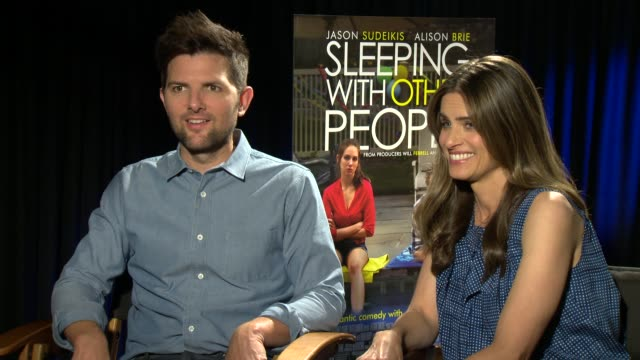 Amanda Peet Adam Scott on this being described as When Harry Met Sally for assholes Adam's cry character baggage in relationships at 'Sleeping With...