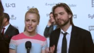 INTERVIEW Amanda Schull and Aaron Stanford talk about 12 Monkeys on Syfy at NBCUniversal Cable Entertainment Upfront 2015 at The Jacob K Javits...
