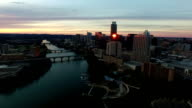 Amazing Aerial View Over Austin during a Once in a lifetime Sunset Flying over Downtown