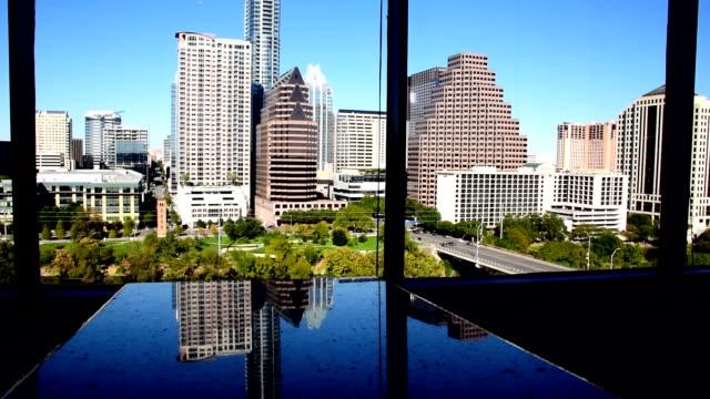 Amazing Austin Texas Skyline Mirrored in Marble through Office Building Windows Top Floor High Rise