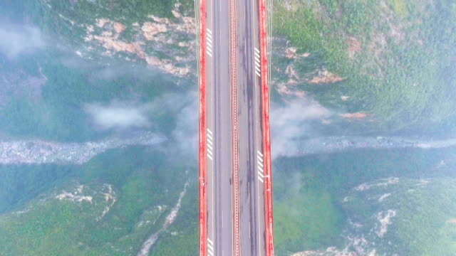 Amazing Beipanjiang Bridge Connect Between the Mountain, Highest Bridge, Ghuizhou, China, Aerial Top View