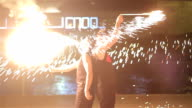 Amazing fire show with sparks and breathing fire