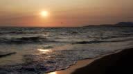 Tolle Aussicht auf den Sonnenuntergang über der Adria