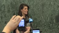 Ambassador Nikki Haley makes a brief statement on her first day