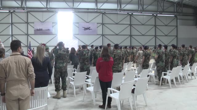 S Ambassador to Lebanon Elizabeth Richard and Lebanese Army Commander General Joseph Aoun attend the hand over ceremony of two A29 Super Tucano light...