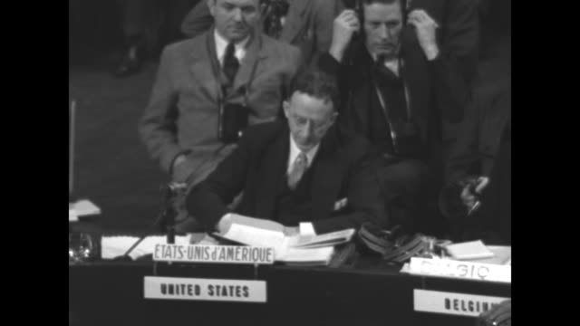 US ambassador to the United Nations Dr Philip Jessup reads statement during session of the UN General Assembly