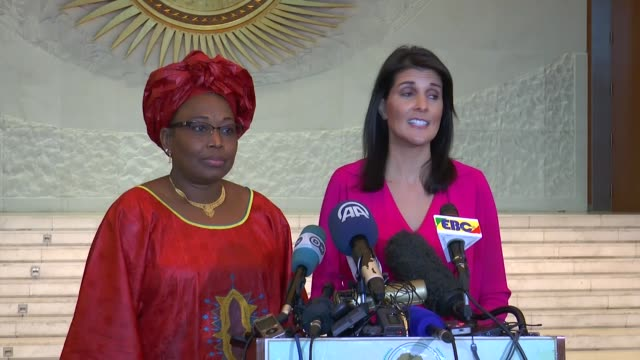 S Ambassador to the United Nations Nikki Haley and African Union Commissioner for Political Affairs Minata Samate Cessouma hold a press conference in...