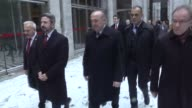 Ambassadors accompanied by Turkish Foreign Minister Mevlut Cavusoglu visit the parts of Grand National Assembly of Turkey which were damaged during...