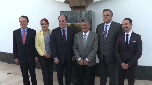 Ambassadors to Venezuela from the United Kingdom Mexico Spain and France visit the opposition led National Assembly in a show of support on Tuesday...