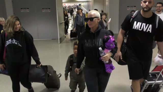 Amber Rose her son arriving at LAX Airport in Los Angeles in Celebrity Sightings in Los Angeles