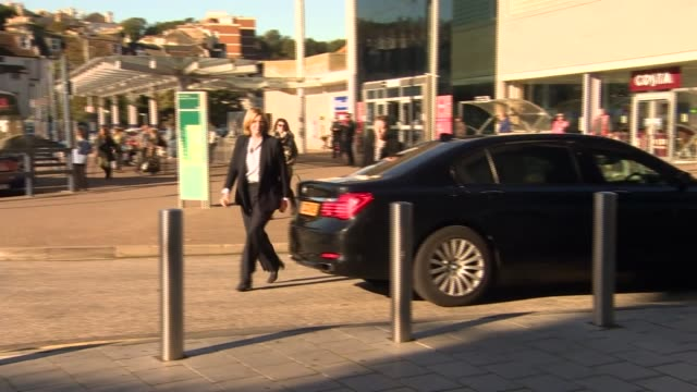 East Sussex Hastings EXT Amber Rudd MP along from car and into college building