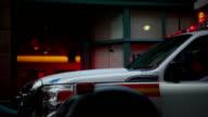 Ambulance near an office building
