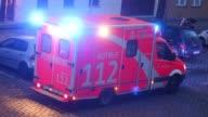 Ambulance with emergency lights