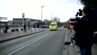 Ambulances carrying the injured victims of the Brussels explosion arrive at the Emergency service of the SaintLuc Hospital in Brussels Belgium on...