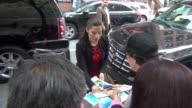 America Ferrera arrives at the Today show in Rockefeller Center signs for a fan in Celebrity Sightings in New York