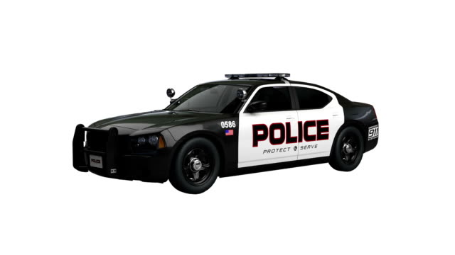 America police car spin isolated with luma matte