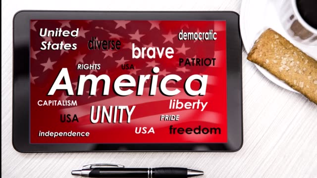 America word cloud on digital tablet screen.